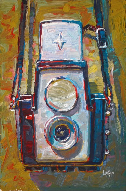 """Kodak Brownie Starflex Camera"" original fine art by Raymond Logan"