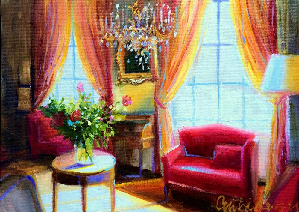 """RED INTERIOR"" original fine art by Cecilia Rosslee"