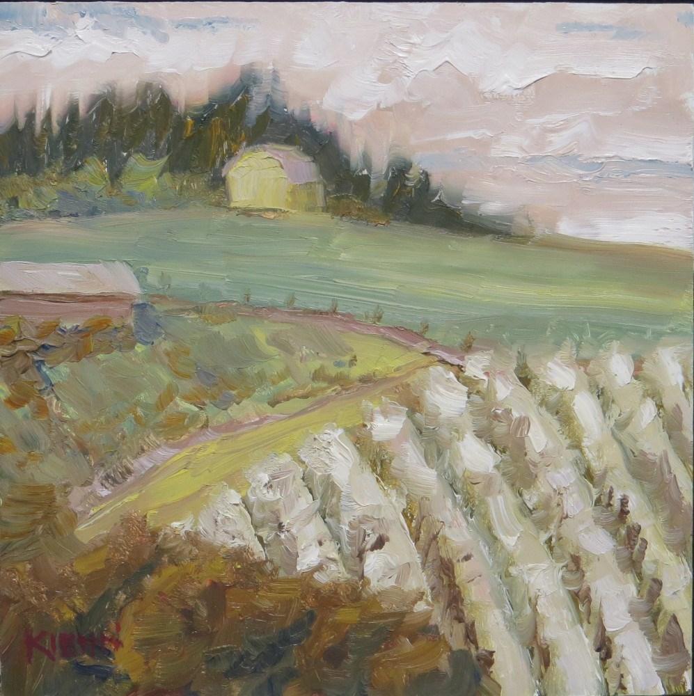 """""""Hillside Orchard in Bloom"""" original fine art by Richard Kiehn"""