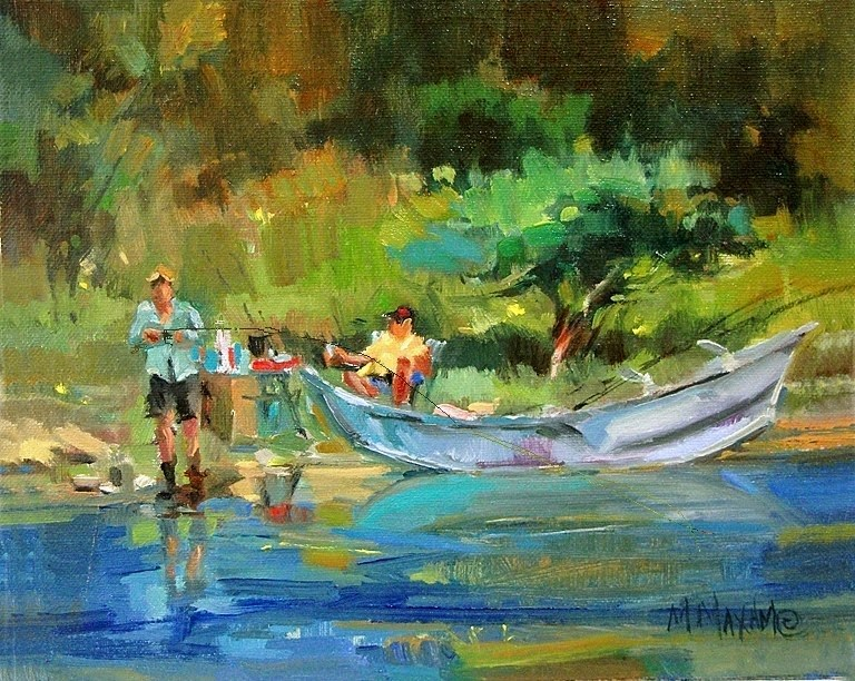 """Shore Lunch - Big Horn River"" original fine art by Mary Maxam"