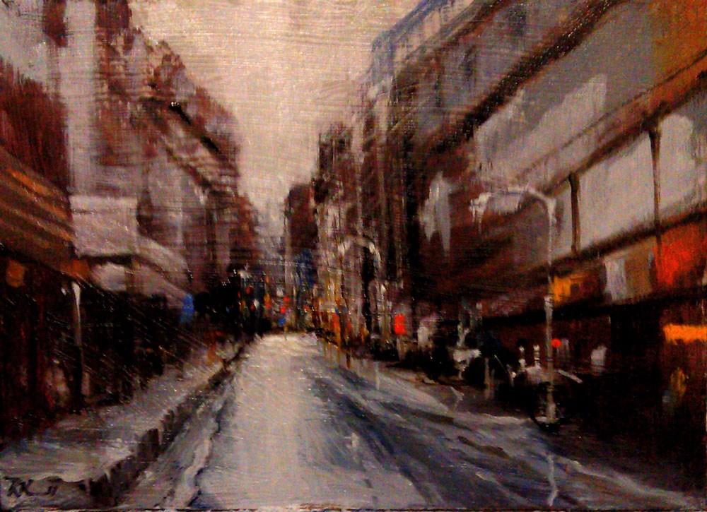 """""""A Wet Busy Street"""" original fine art by Bob Kimball"""