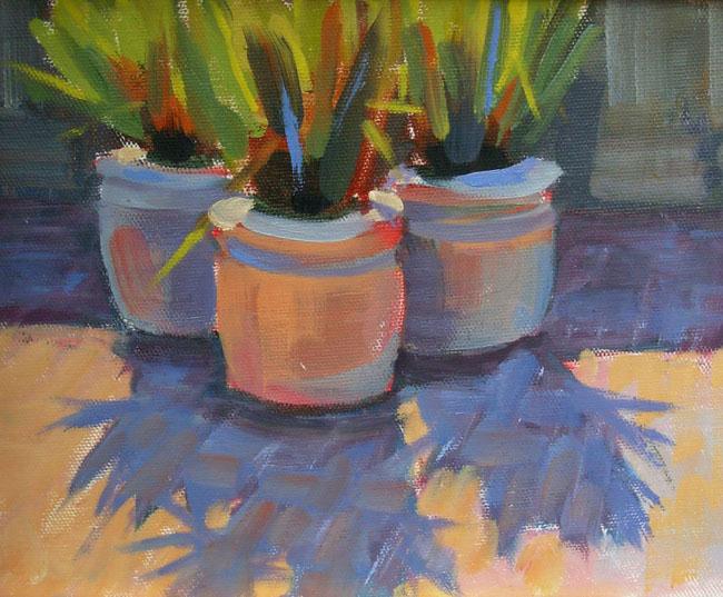 """Three Flower Pots"" original fine art by Deborah Newman"