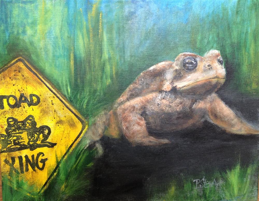 """11x14 Toad in the Road Frog Crossing Grass Blacktop SFA Penny Lee StewArt"" original fine art by Penny Lee StewArt"