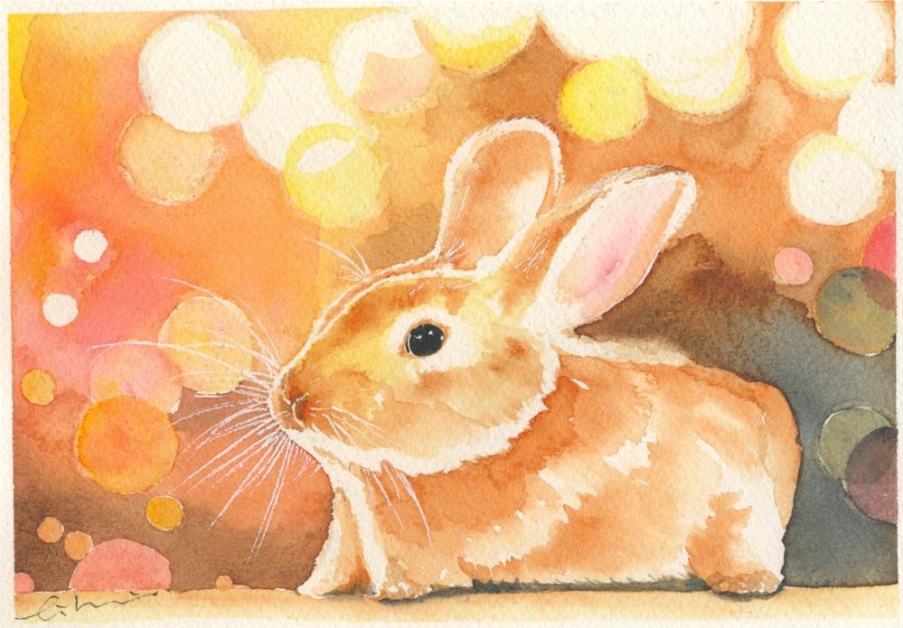 """sunset bunny"" original fine art by Hui (Hue) Li"