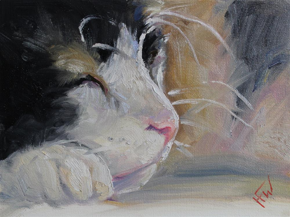 """Kitty Dreams"" original fine art by H.F. Wallen"