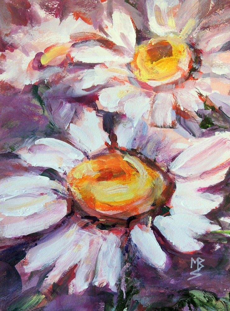 """Daisies Three"" original fine art by Mary Schiros"