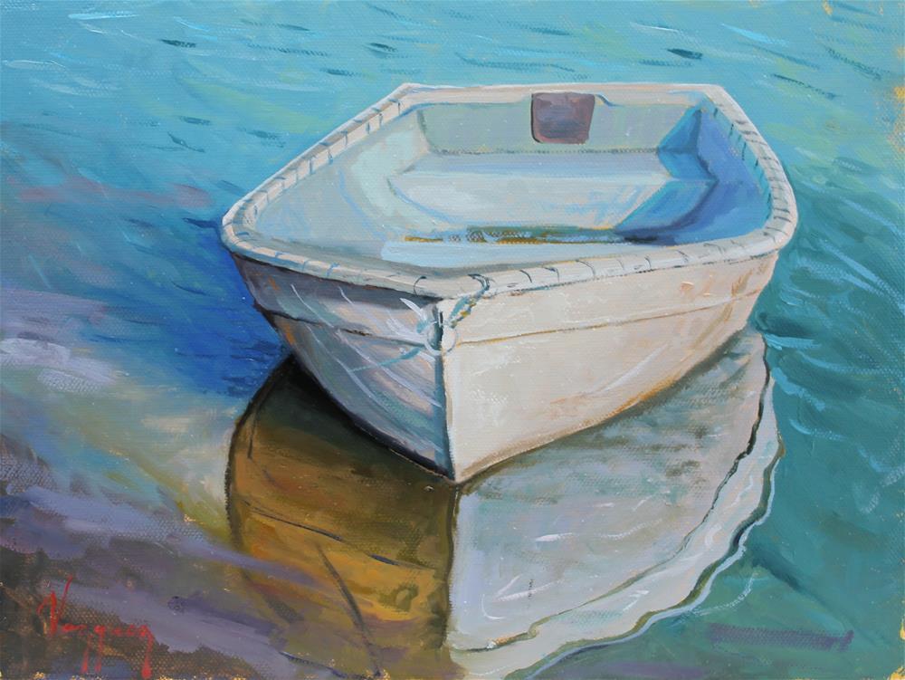"""white boat "" original fine art by Marco Vazquez"