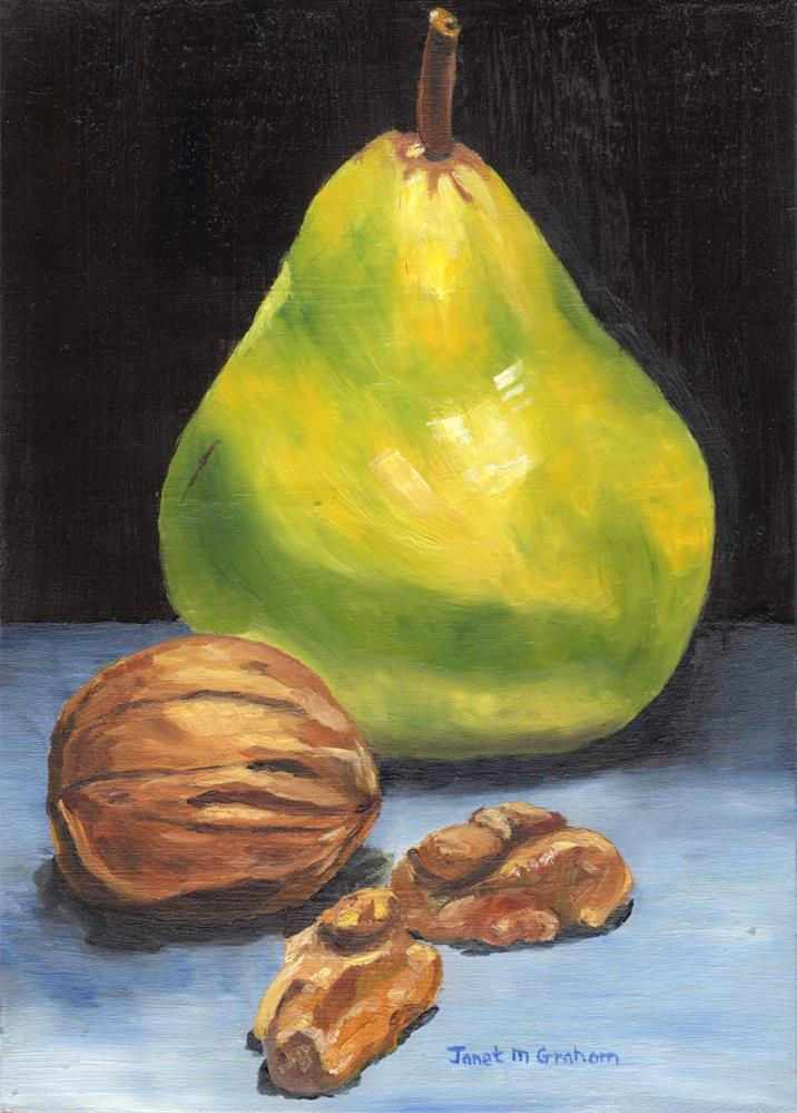 """Pear and Walnuts"" original fine art by Janet Graham"