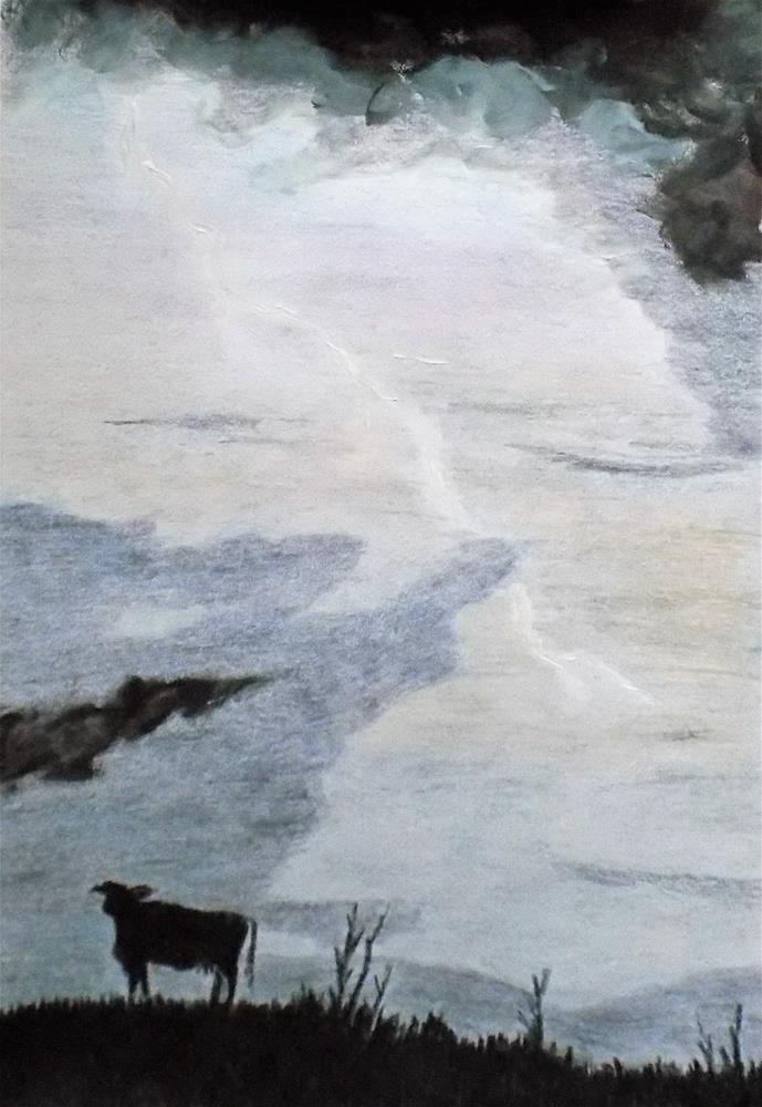 """""""Cow in field with stormy Sky """" original fine art by tara stephanos"""