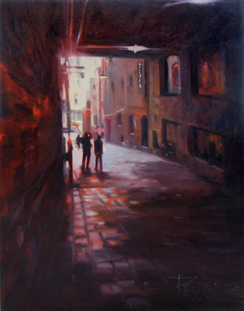 """Capturing Post Alley  Seattle city scenes, urban oil painting"" original fine art by Robin Weiss"