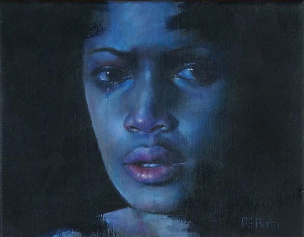 """Crying Game in Blue"" original fine art by Rhea  Groepper Pettit"