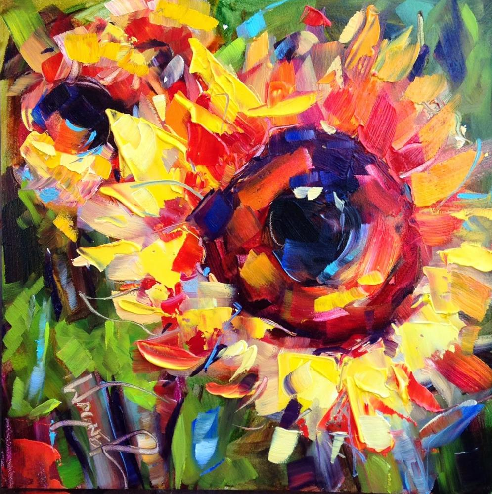 """CONTEMPORARY SUNFLOWER PAINTING in OILS by OLGA WAGNER"" original fine art by Olga Wagner"