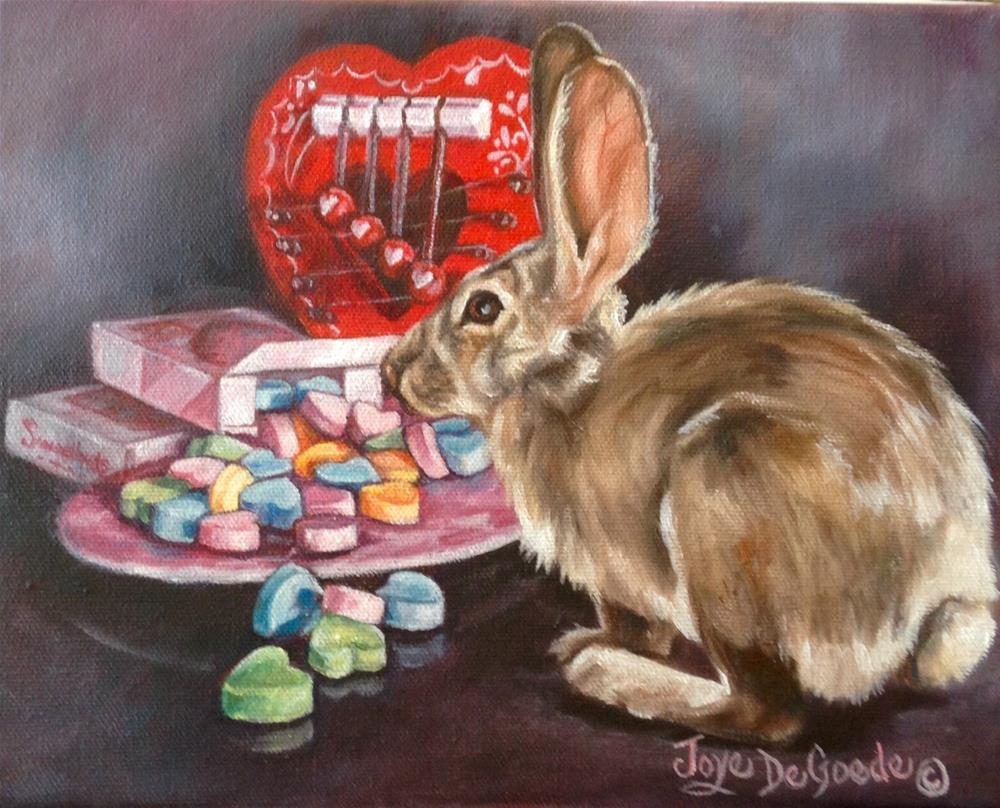 """My Bunny Little Valentine (c) by Joye DeGoede"" original fine art by Joye DeGoede"