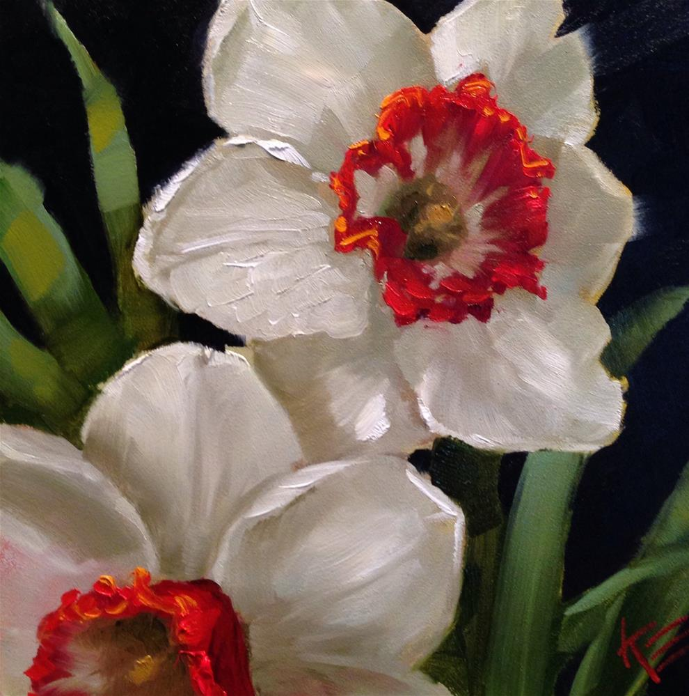 """Red Hot Daffodils"" original fine art by Krista Eaton"