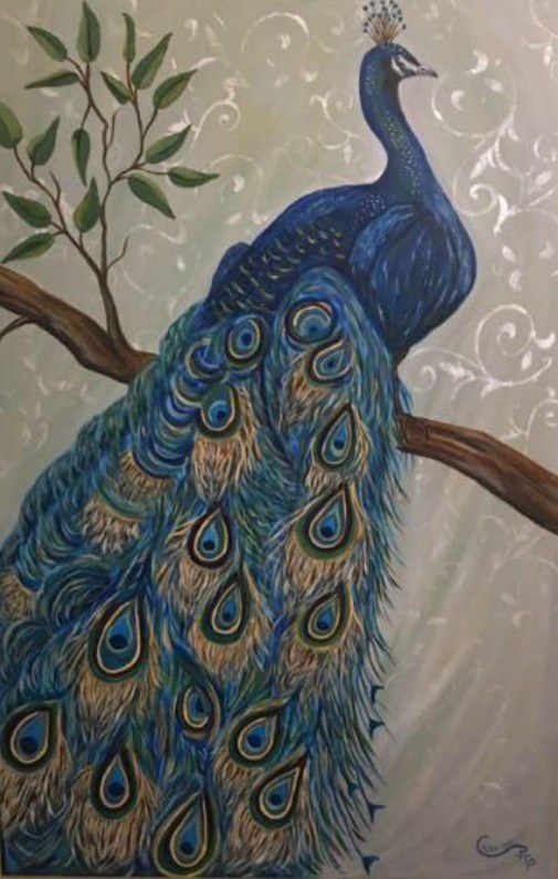 """Proud as a Peacock "" original fine art by Caroline harris"