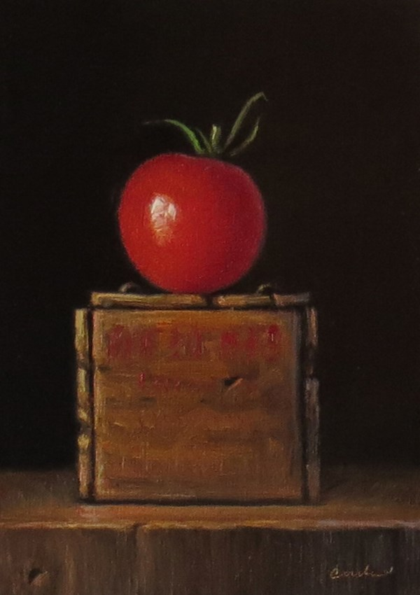 """""""Still Life with Vintage Cheese Crate and Tomato"""" original fine art by Darla McDowell"""