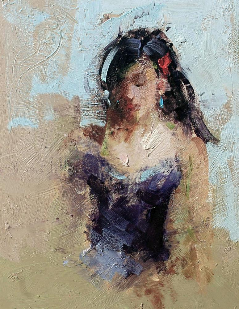 """Blue earring"" original fine art by Mostafa Keyhani"