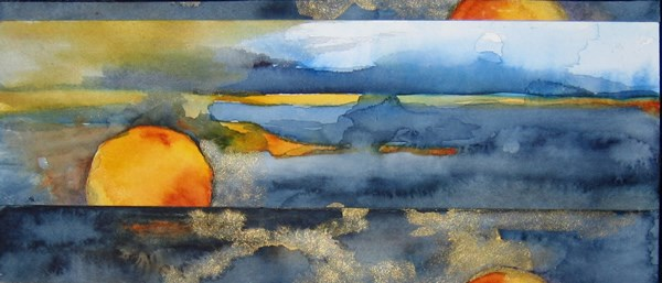 """Coastal California Sunset"" original fine art by Anne Ducrot"