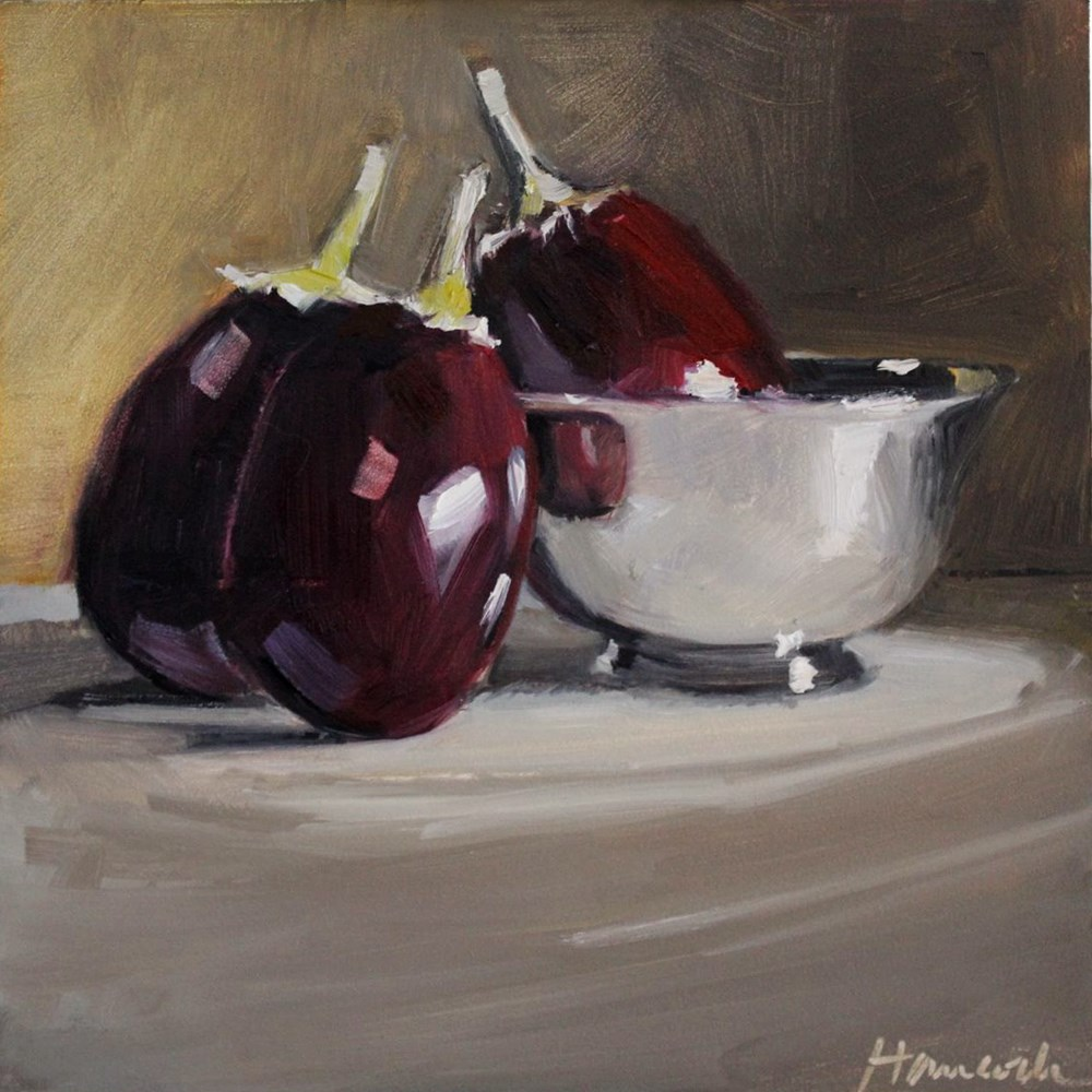 """Three Eggplant Revere-style Silver Bowl"" original fine art by Gretchen Hancock"