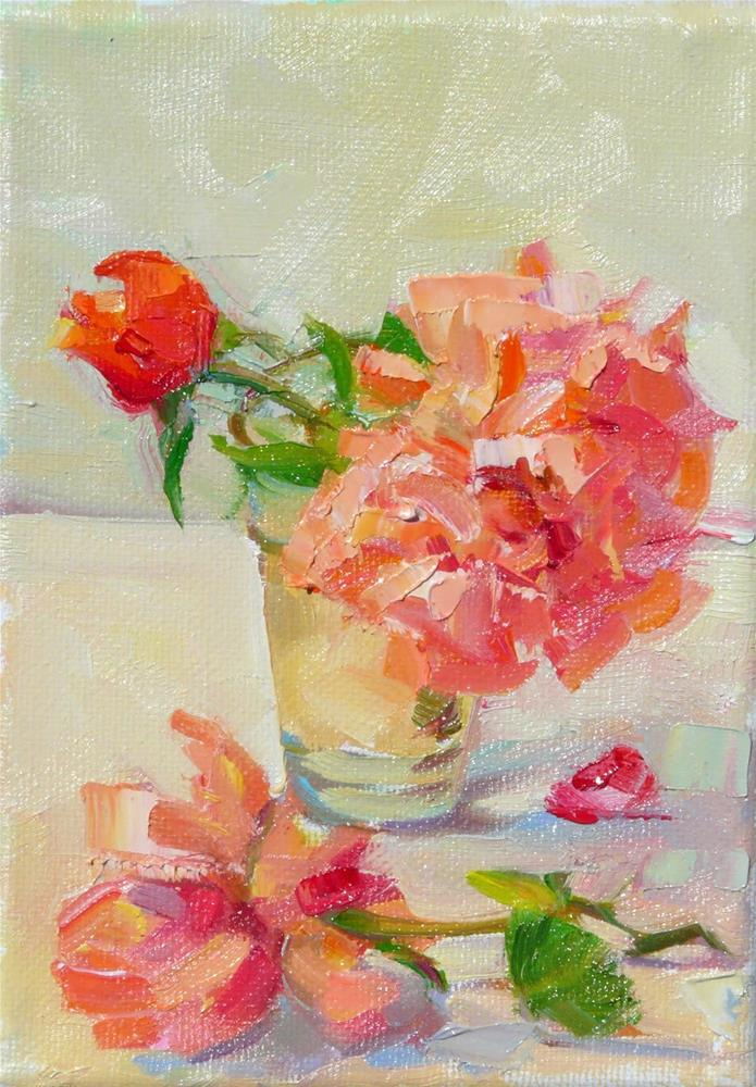 """Summer roses,still life,oil on canvaas,7x5,price$175"" original fine art by Joy Olney"