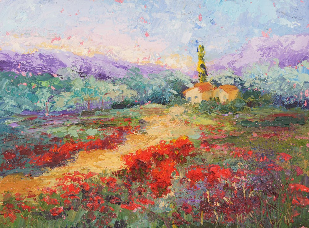 """Poppy Field Provence palette knife painting"" original fine art by Marion Hedger"