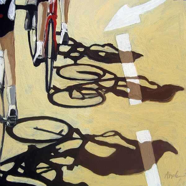 """bicycle art oil painting - The Race 2"" original fine art by Linda Apple"