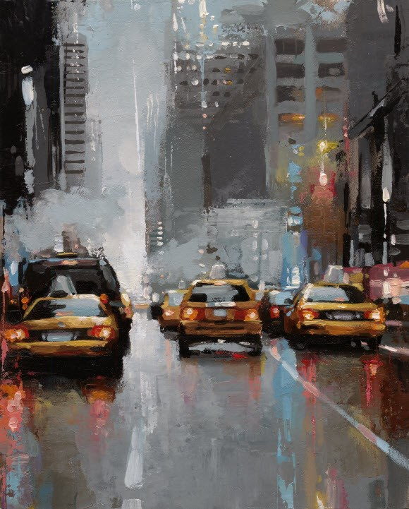"""NYC Taxi-II"" original fine art by Victor Bauer"