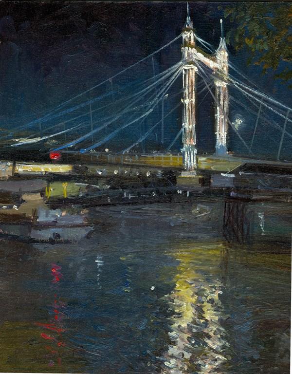 """Albert Bridge At Night"" original fine art by Adebanji Alade"