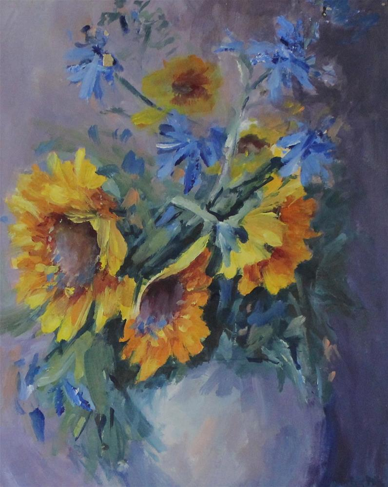 """Original Sunflower Flower Floral Still Life Oil Painting"" original fine art by Alice Harpel"