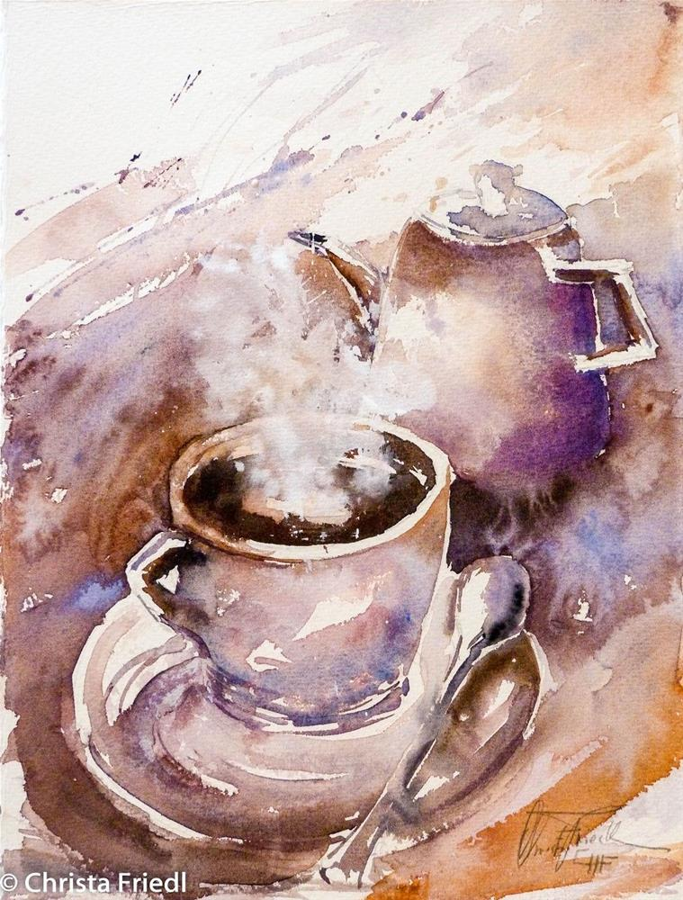 """a good cup of coffee"" original fine art by Christa Friedl"