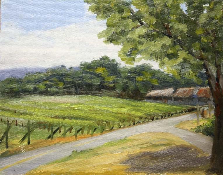 """Spicewood Vineyard View"" original fine art by Jane Frederick"