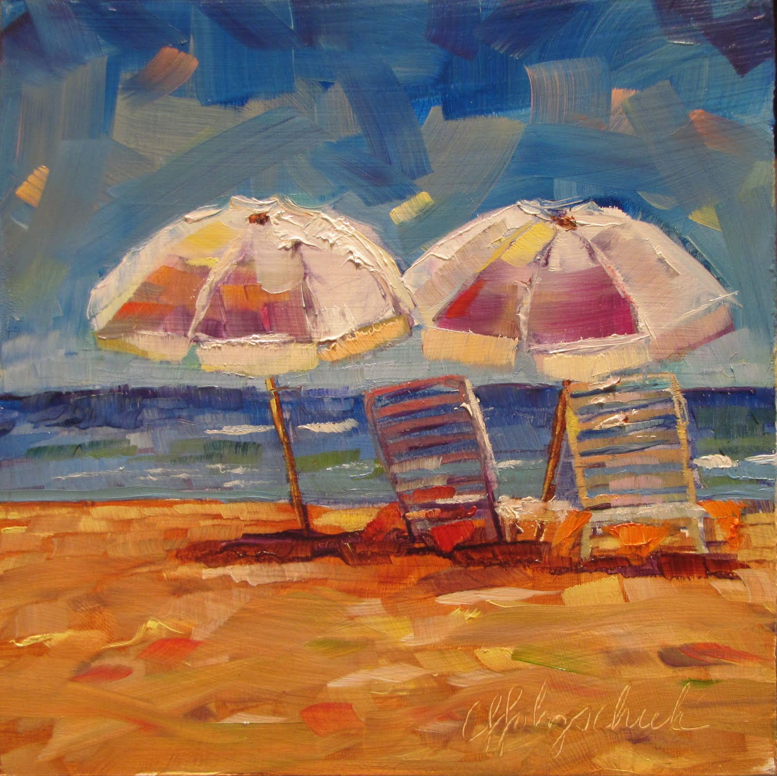 """Ready and Waiting  oil  6""""x6""""  landscape #353 original fine art by Christine Holzschuh"""