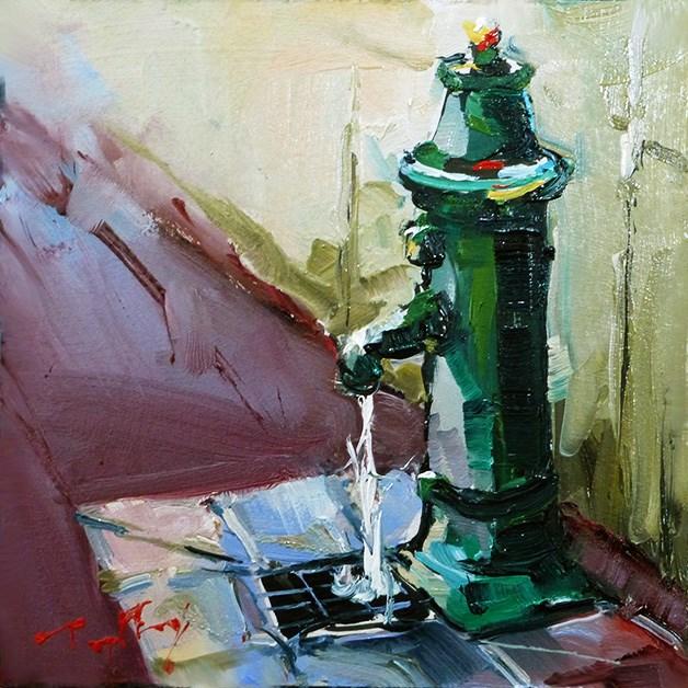 """""""Straßenwasserhahn"""" original fine art by Jurij Frey"""