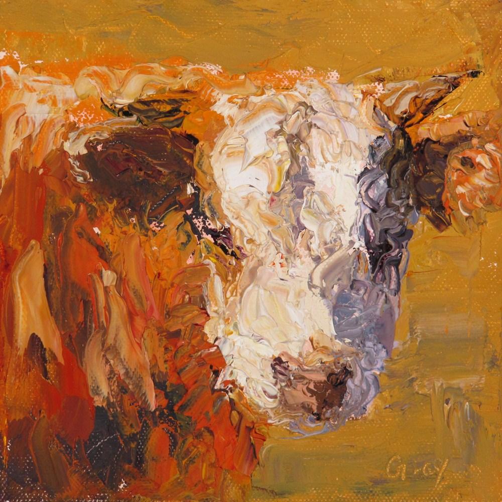 """""""Fluffy Cow No. 1"""" original fine art by Naomi Gray"""
