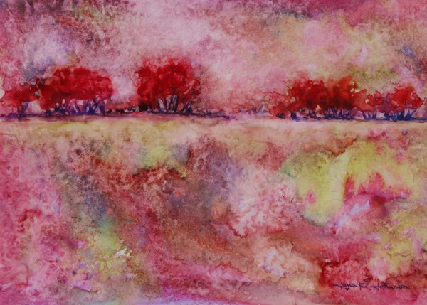 """Red Trees In The Park"" original fine art by Jana Johnson"