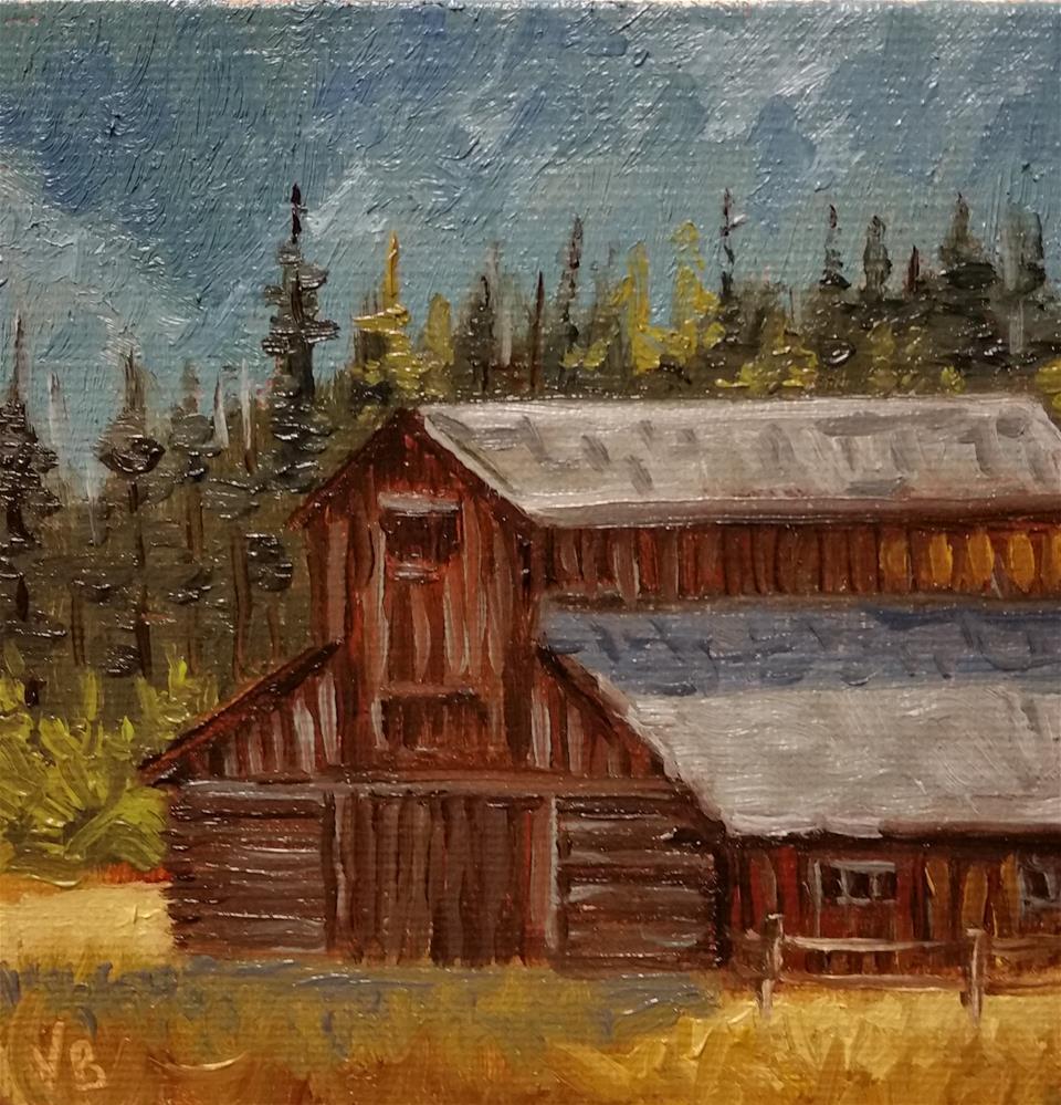 """RMNP Barn-mini painting"" original fine art by Veronica Brown"