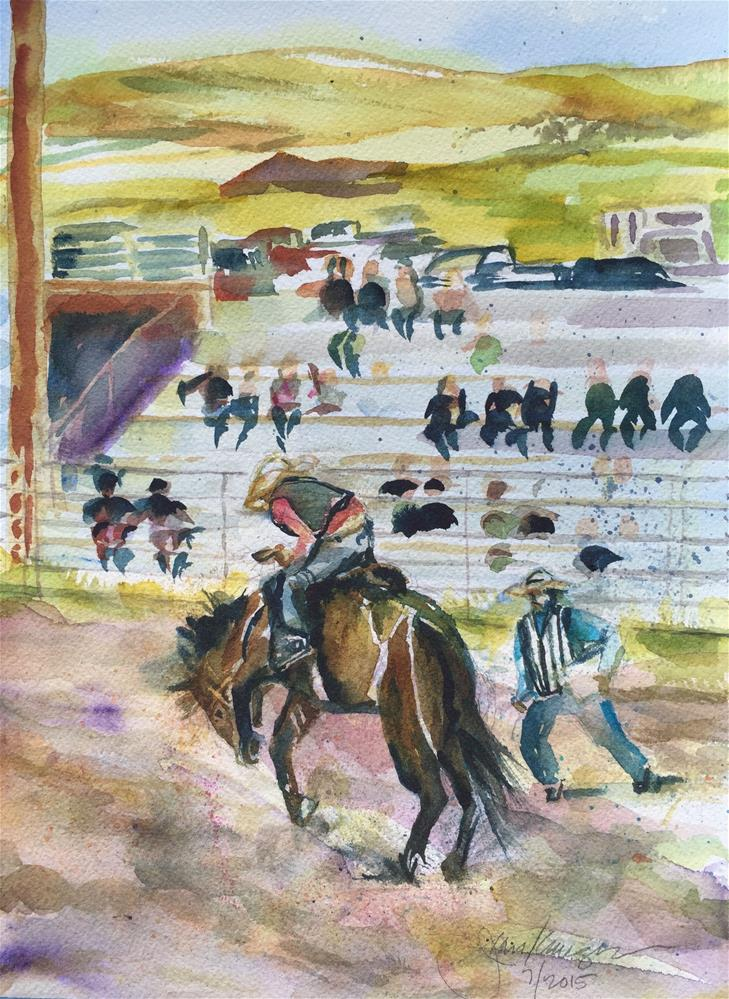 """Bronc Riding, Westcliffe, CO"" original fine art by Jean Krueger"