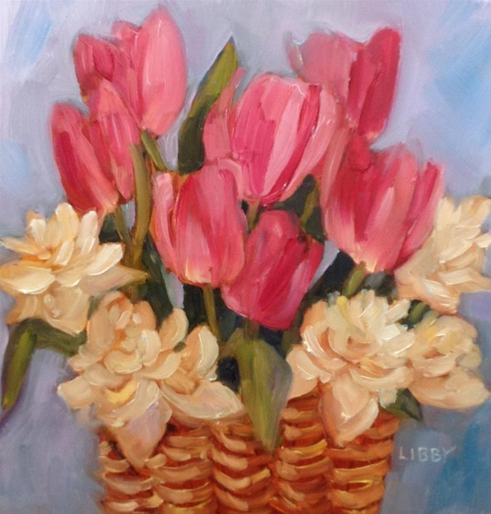 """Pink Tulips and Double Daffodils"" original fine art by Libby Anderson"