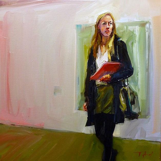 """Die Frau mit dem Buch 2"" original fine art by Jurij Frey"