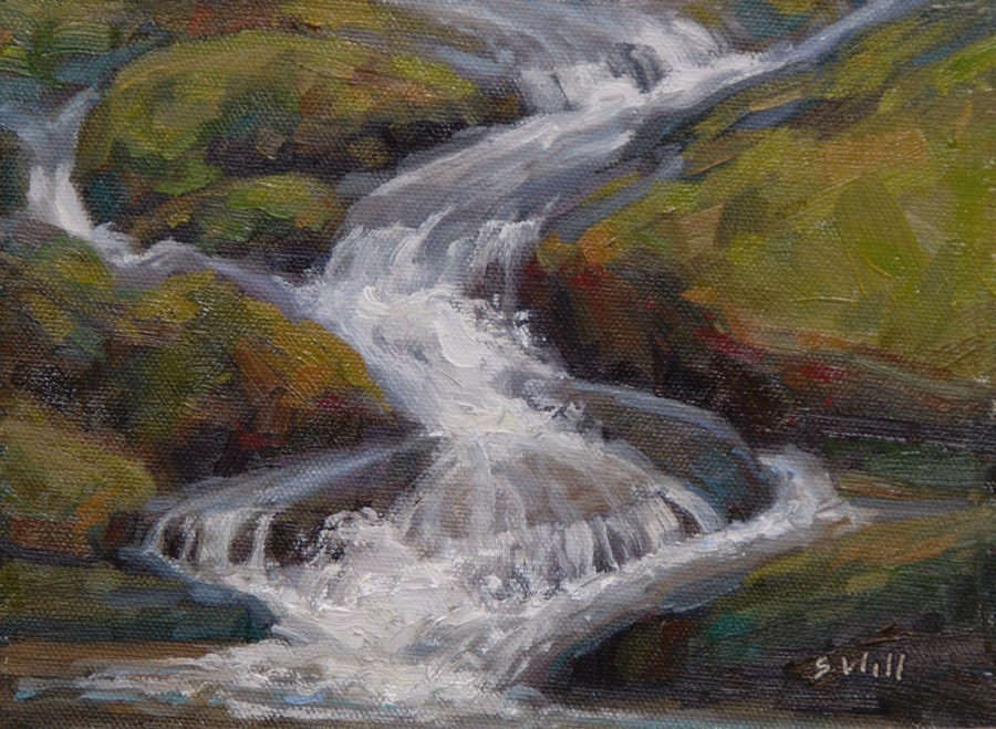 """End of the Falls 6x8"" original fine art by Sharon Will"