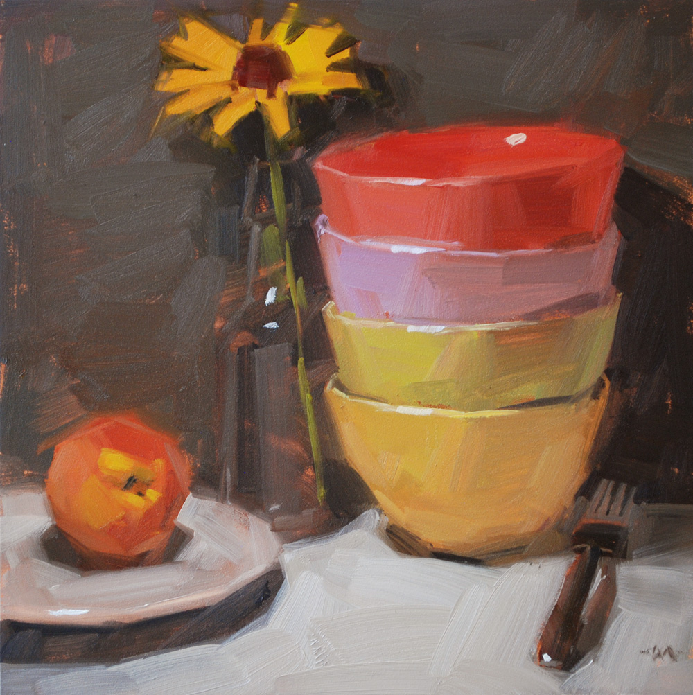 """Bowls Four Breakfast & workshop photos"" original fine art by Carol Marine"