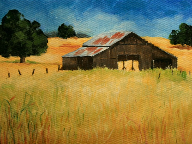 """Old Hay Barn"" original fine art by Jean Nelson"
