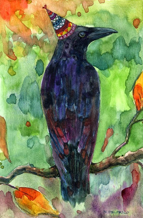 """Watercolor: Crow Celebrates Fall (& preparation for Winter in the art studio)"" original fine art by Belinda Del Pesco"
