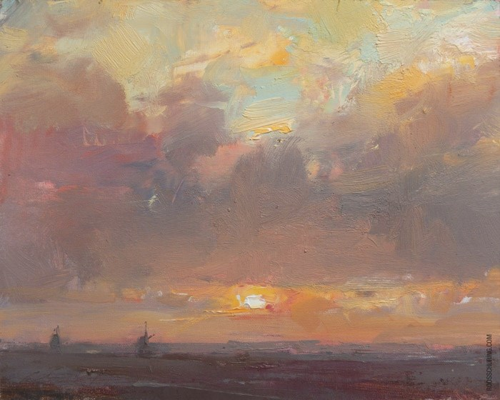 """Painting Sunrise and Clouds"" original fine art by Roos Schuring"