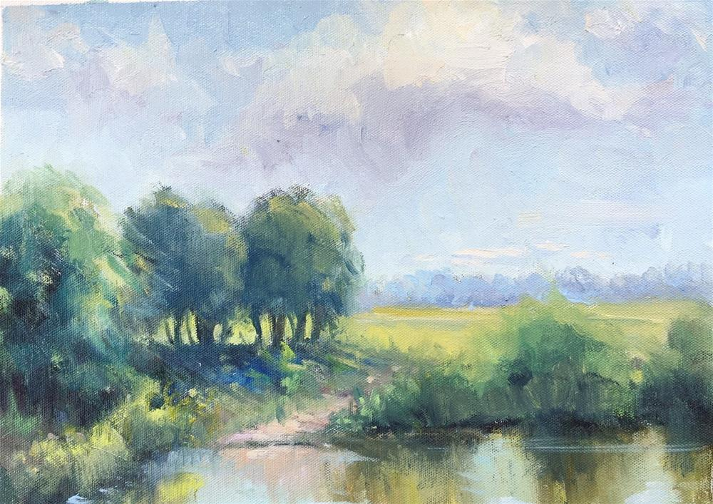 """Hunter Farm Pond "" original fine art by Connie Snipes"