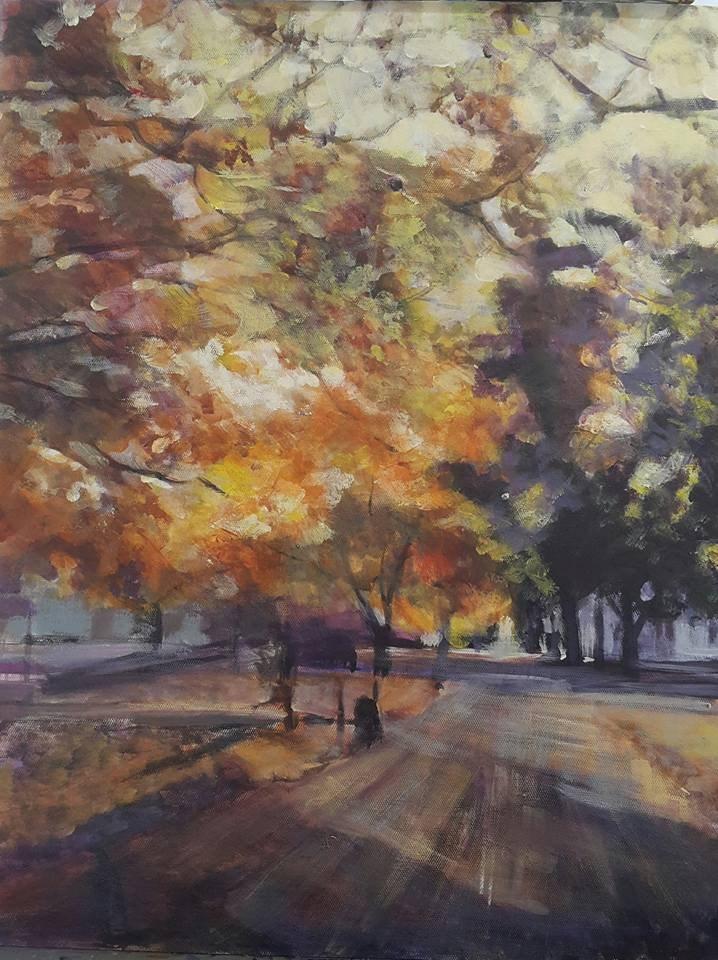"""Autumn road"" original fine art by Rentia Coetzee"