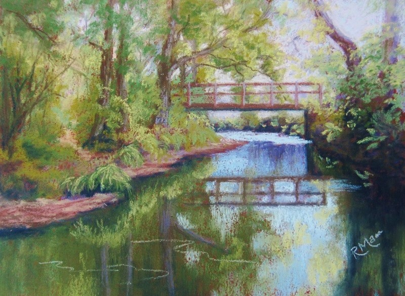 """Secluded Bridge"" original fine art by Ruth Mann"