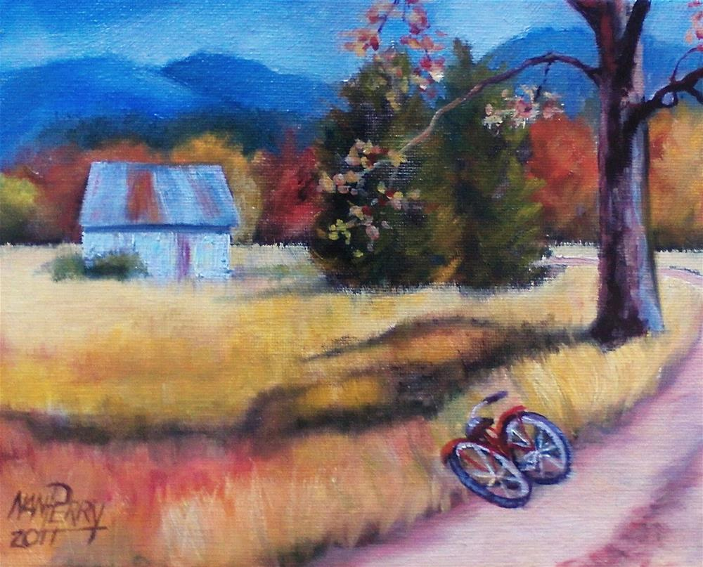 """The Old Bike"" original fine art by Nan Perry"