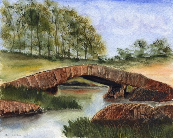 """Country Bridge"" original fine art by Janet Graham"