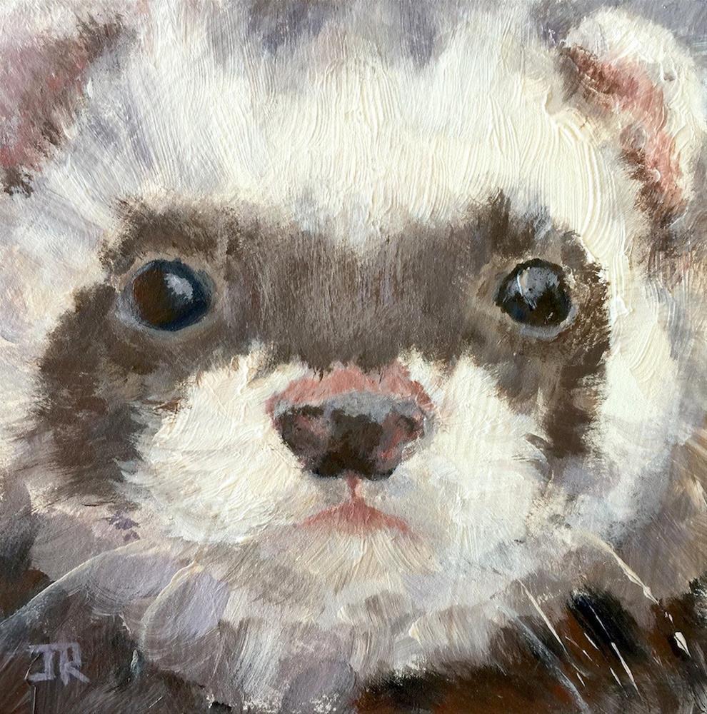 """""""Ferret Challenge"""" original fine art by June Rollins"""